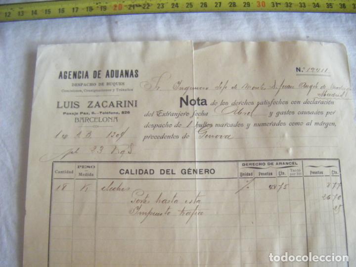 Cartas comerciales: JML DOCUMENTO LUIS FACARINO AGENCIA ADUANAS DESPACHO BUQUES INGENIERO MONTES GENOVA BARCELONA 1906 - Foto 3 - 211847326