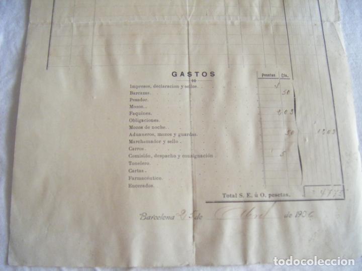 Cartas comerciales: JML DOCUMENTO LUIS FACARINO AGENCIA ADUANAS DESPACHO BUQUES INGENIERO MONTES GENOVA BARCELONA 1906 - Foto 4 - 211847326