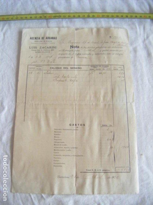 JML DOCUMENTO LUIS FACARINO AGENCIA ADUANAS DESPACHO BUQUES INGENIERO MONTES GENOVA BARCELONA 1906 (Coleccionismo - Documentos - Cartas Comerciales)