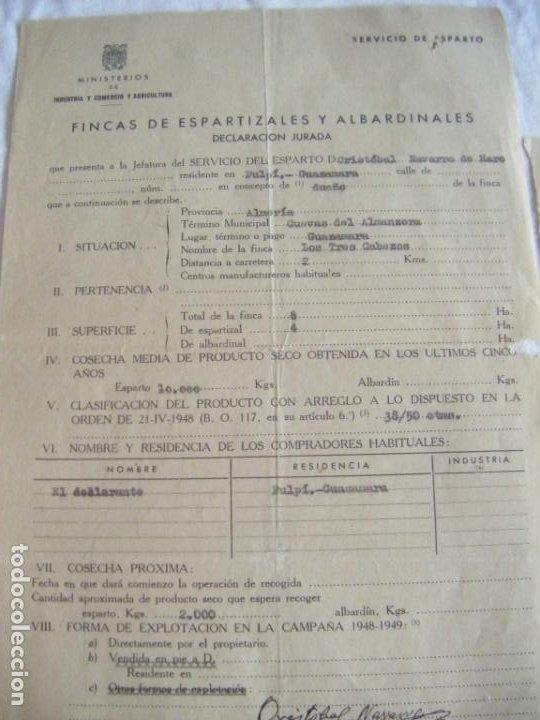 Cartas comerciales: JML LOTE DOCUMENTOS INDUSTRIA COMERCIO AGRICULTURA FINCA ESPARTO ALBARDIN PLEITA SOGA CUEVAS ALMERIA - Foto 2 - 211847806