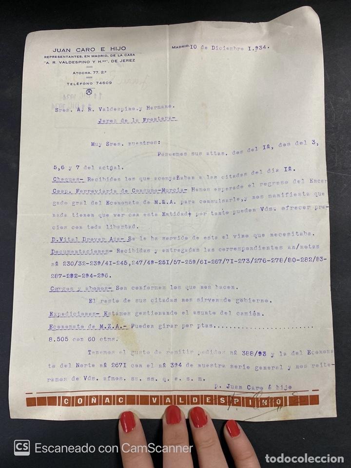 CARTA COMERCIAL. JUAN CARO E HIJO. MADRID, 1934. PARA A.R. VALDESPINO Y HNO. JEREZ. (Coleccionismo - Documentos - Cartas Comerciales)