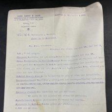 Cartas comerciales: CARTA COMERCIAL. JUAN CARO E HIJO. MADRID, 1934. PARA A.R. VALDESPINO Y HNO. JEREZ.. Lote 211872306