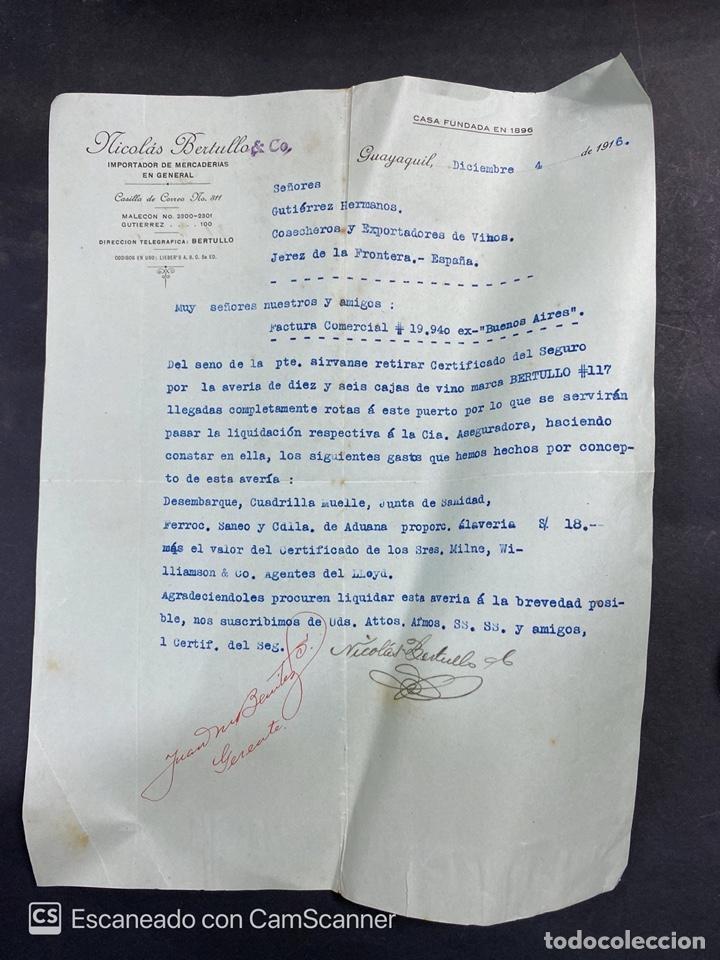 CARTA COMERCIAL.NICOLAS BERTULLO & CO. GUAYAQUIL-ECUADOR, 1916. PARA GUTIERREZ HERMANOS. (Coleccionismo - Documentos - Cartas Comerciales)