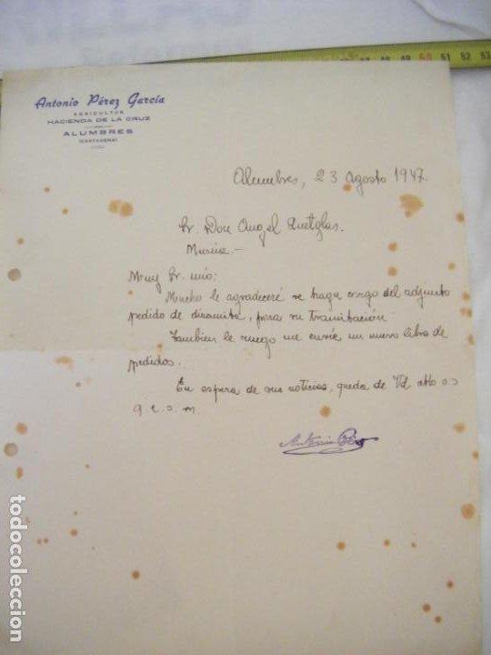 Cartas comerciales: JML LOTE 2 CARTAS COMERCIALES TIERRAS MINERALES ETC AGUILAS, PEDIDO DINAMITA ALUMBRES CARTAGENA 1947 - Foto 2 - 211967420