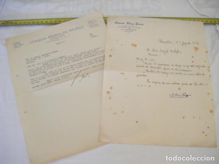 JML LOTE 2 CARTAS COMERCIALES TIERRAS MINERALES ETC AGUILAS, PEDIDO DINAMITA ALUMBRES CARTAGENA 1947 (Coleccionismo - Documentos - Cartas Comerciales)