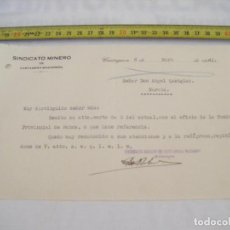 Cartas comerciales: JML CONTESTACION CARTA SOBRE TEMA MINERO SINDICATO MINERO CARTAGENA - MAZARRON 6 MAYO 1941. VER FOTO. Lote 211968170