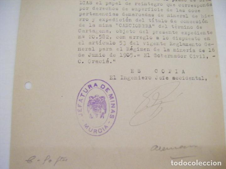 Cartas comerciales: JML DOCUMENTO JEFATURA DE MINAS MURCIA DECRETO EL INGENIERO JEFE ACCIDENTAL 1946 - Foto 2 - 211969677