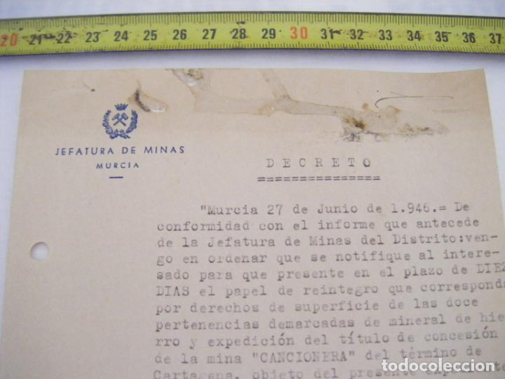 Cartas comerciales: JML DOCUMENTO JEFATURA DE MINAS MURCIA DECRETO EL INGENIERO JEFE ACCIDENTAL 1946 - Foto 3 - 211969677