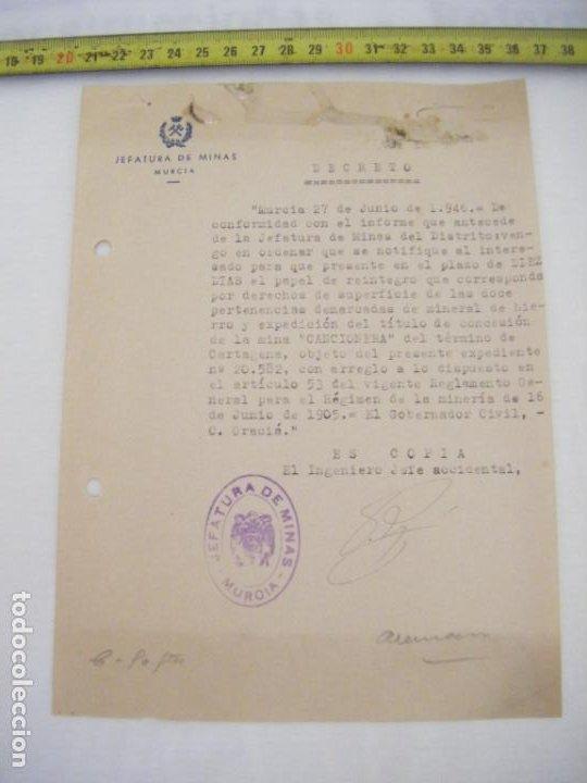 JML DOCUMENTO JEFATURA DE MINAS MURCIA DECRETO EL INGENIERO JEFE ACCIDENTAL 1946 (Coleccionismo - Documentos - Cartas Comerciales)