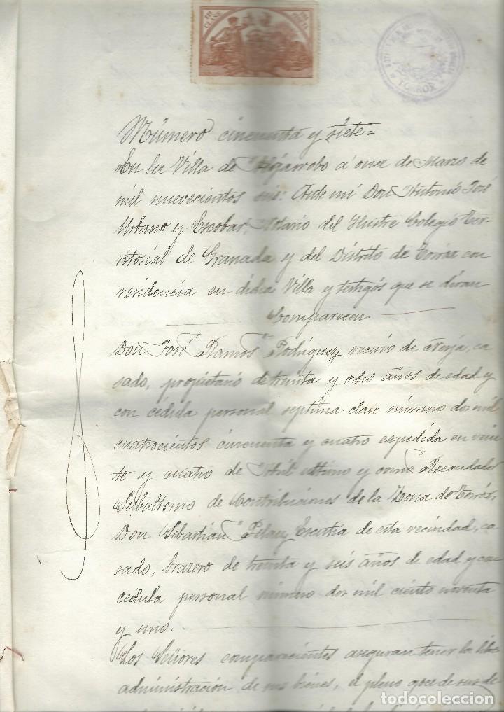 Cartas comerciales: Contratos de compraventa, 1893, con timbre, sellos y firmas adjuntos (2 documentos) - Foto 3 - 214250627