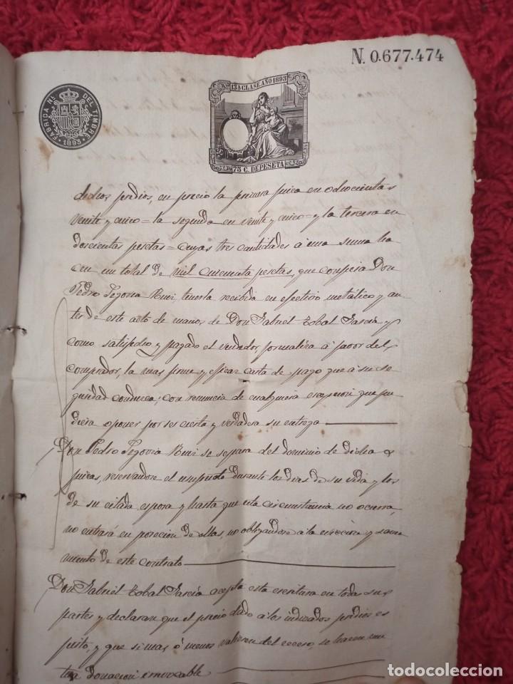 Cartas comerciales: Contratos de compraventa, 1893, con timbre, sellos y firmas adjuntos (2 documentos) - Foto 9 - 214250627