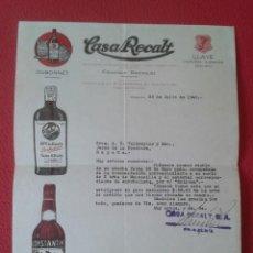 Cartas comerciales: ANTIGUO DOCUMENTO CARTA COMERCIAL....CASA RECALT LA HABANA CUBA DUBONNET LLAVE CONSTANTINO LICORES... Lote 214529691