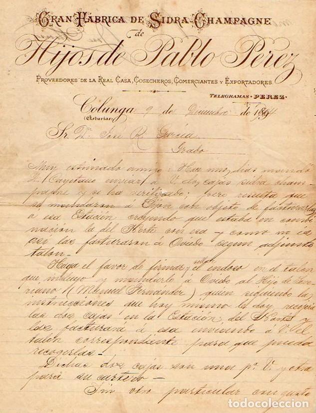 GRAN FABRICA DE SIDRA CHAMPAGNE HIJOS DE PABLO PEREZ. COLUNGA. ASTURIAS. 1904 (Coleccionismo - Documentos - Cartas Comerciales)