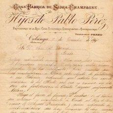 Cartas comerciales: GRAN FABRICA DE SIDRA CHAMPAGNE HIJOS DE PABLO PEREZ. COLUNGA. ASTURIAS. 1904. Lote 214625066