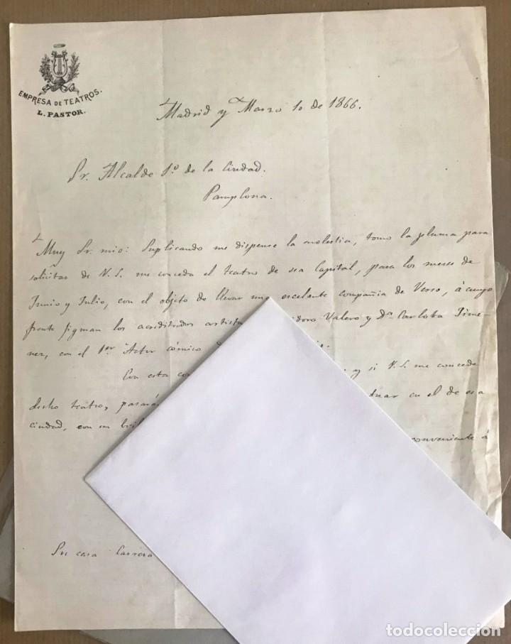 CARTA. EMPRESA TEATROS PASTOR AL ALCALDE DE PAMPLONA. 1866 (Coleccionismo - Documentos - Cartas Comerciales)