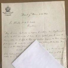 Cartas comerciales: CARTA. EMPRESA TEATROS PASTOR AL ALCALDE DE PAMPLONA. 1866. Lote 214753035