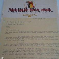 Cartas comerciales: ZARAGOZA. MARQUINA, S.L., CLASIFICACIÓN Y PREPARACIÓN DE TODA CLASE DE DESPERDICIOS. 1940. Lote 215775398