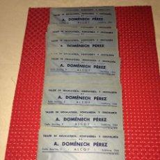 Cartas comerciales: ALCOY - A. DOMENECH PEREZ - TALLER DE HOJALATERÍA - LOTE DE 33 SOBRES COMERCIALES SIN USO. Lote 218160478