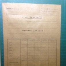 Cartas comerciales: SOBRE TRABAJO Nº CLASE DE TRABAJO - ESPECIFICACIÓN - VINTAGE. Lote 218448306