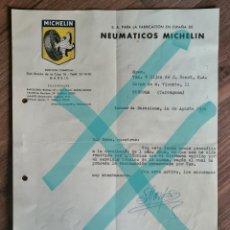 Cartas comerciales: CARTA DE LA FABRICA DE MICHELIN DE 1956. Lote 218974166