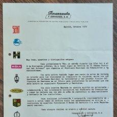 Cartas comerciales: CARTA FINANZAUTO Y SERVICIOS DE 1970. I SEMANA AUTOCAR. PEGASO, SEAT, JCB, HYSTER, KOLA, WAYNE.... Lote 219275387