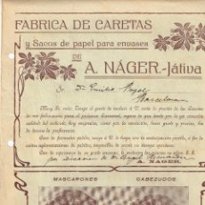 Cartas comerciales: CATÁLOGO FÁBRICA DE CARETAS Y SACOS DE PAPEL PARA ENVASES A. NÁGER (JÁTIVA) MASCARONES Y CABEZUDOS. Lote 219899686