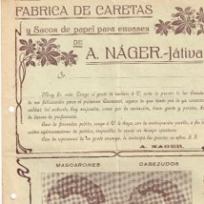 Cartas comerciales: CATÁLOGO FÁBRICA DE CARETAS Y SACOS DE PAPEL PARA ENVASES A. NÁGER (JÁTIVA) MASCARONES Y CABEZUDOS. Lote 219902908