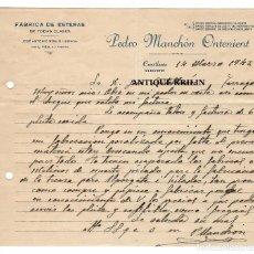 Cartas comerciales: FABRICA DE ESTERAS PEDRO MANCHON ONTINENT / CREVILLENTE /ALICANTE 1942. Lote 220479063