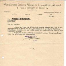 Cartas comerciales: MANUFACTURAS ESPINOSA ALFONSO, HILOS Y CORDELERIA CAÑAMO / CREVILLENTE /ALICANTE 1942. Lote 220480457