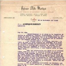 Cartas comerciales: ANTONIO LLEDÓ MARTINEZ .- FABRICA ALFOMBRAS , TAPICES / CREVILLENTE / ALICANTE 1948. Lote 220484938