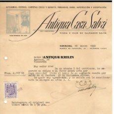 Cartas comerciales: ANTIGUA CASA SALVÁ / ALFOMBRAS , ESTERAS / BARCELONA 1948. Lote 220668802
