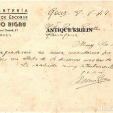 Cartas comerciales: ESPARTERIA Y TALLER ESCOBAS .- SALVIO RIGAU .- REUS .- TARRAGONA 1948. Lote 220671125