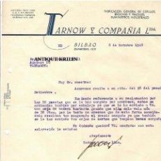 Cartas comerciales: FABRICA DE CEPILLOS , BROCHAS TARNOW Y COMPAÑIA .- BILBAO 1948. Lote 220694678