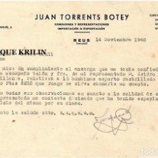Lettere commerciali: JUAN TORRENTS BOTEY , IMPORTACION & EXPORTACION .- REUS / TARRAGONA 1948. Lote 220695048