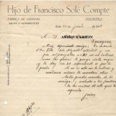 Cartas comerciales: HIJO DE FRANCISCO SOLÉ COMPTE / FABRICA DE CUERDAS,HILOS Y ALPARGATAS/ TARRAGONA VALLS 1948. Lote 220695526