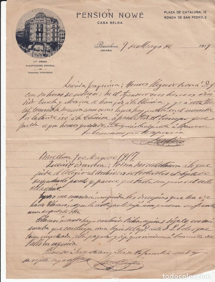 CARTA COMERCIAL DE PENSION NOWÉ - CASA BELGA- EN PLAÇA DE CATALUNYA DE BARCELONA (Coleccionismo - Documentos - Cartas Comerciales)