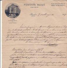 Cartas comerciales: CARTA COMERCIAL DE PENSION NOWÉ - CASA BELGA- EN PLAÇA DE CATALUNYA DE BARCELONA. Lote 221284260
