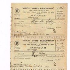 """Cartas comerciales: 1938 GENERALITAT CATALUNYA,""""IMPOST SOBRE RADIODIFUSIÓ"""" OCTUBRE, NOVEMBRE, DESEMBRE UNIDOS. Lote 221542293"""