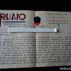 Cartas comerciales: CARTA DE RUANO CINEMATOGRAFIA ESPECTACULOS, SOBRE EL ESTADO DEL TEATRO VICO DE JUMILLA 1940. Lote 221762966