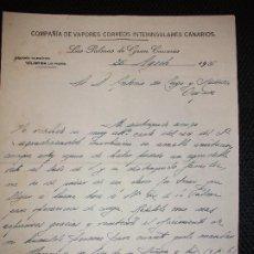 Cartas comerciales: CARTA COMPAÑIA DE VAPORES CORREOS INTERINSULARES CANARIOS DE LAS PALMAS DE GRAN CANARIAS 1926 ORENSE. Lote 221819588