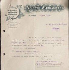 Cartas comerciales: CARTA COMERCIAL. VICENTE ALEIXANDRE. ALMACÉN DE BISUTERÍA, QUINCALLA Y ABANICOS. MADRID. ESPAÑA 1917. Lote 221888747