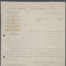 Cartas comerciales: CARTA COMERCIAL. SOCIEDAD ANÓNIMA GRAS. VALENCIA. ESPAÑA 1918. Lote 221957950