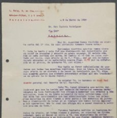 Cartas comerciales: CARTA COMERCIAL. L. REIG S. EN C. FÁBRICA DE BASTONES, PARAGUAS Y SOMBRILLAS. BARCELONA. ESPAÑA 1920. Lote 221958140