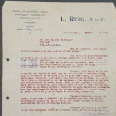 Cartas comerciales: CARTA COMERCIAL. L. REIG S. EN C. FÁBRICA DE BASTONES, PARAGUAS Y SOMBRILLAS. BARCELONA. ESPAÑA 1920. Lote 221958235