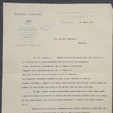 Cartas comerciales: CARTA COMERCIAL. EDUARDO SCHILLING S. EN C. BARCELONA. ESPAÑA 1919. Lote 221958517