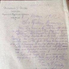 Cartas comerciales: CARTA COMERCIAL. FRANCISCO J. GARCÍA. AGENTE DE LA ALGODONERA DEL ESTADO. MÁLAGA. ESPAÑA 1932. Lote 222145430
