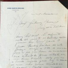 Cartas comerciales: CARTA COMERCIAL. JUAN GARCÍA MOLINA. COMISIONES. JAÉN. ESPAÑA 1931. Lote 222145696