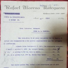 Cartas comerciales: CARTA COMERCIAL. RAFAEL MORENO ANTEQUERA. MADRID. ESPAÑA 1932. Lote 222167573