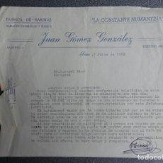 Cartas comerciales: SORIA CARTA COMERCIAL AÑO 1962 FÁBRICA HARINAS LA CONSTANTE NUMANTINA - JUAN GÓMEZ GONZÁLEZ. Lote 222171367