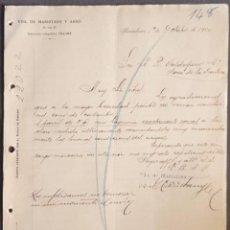 Cartas comerciales: CARTA COMERCIAL. VDA. DE MARISTANY Y ARNÓ. S. EN C. BARCELONA. ESPAÑA 1900. Lote 222232136